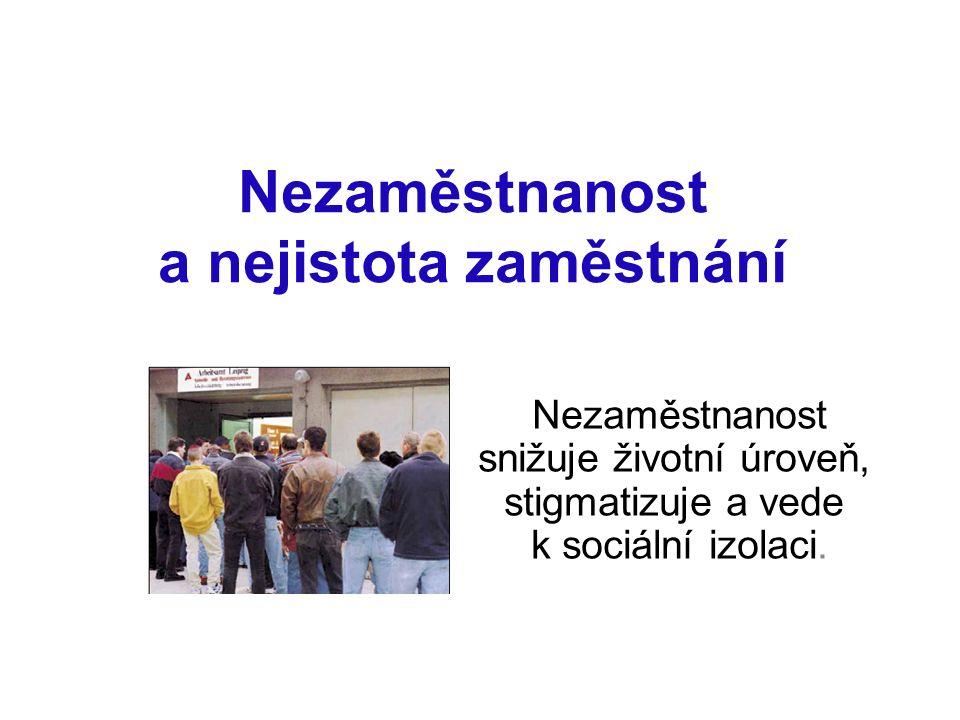 Nezaměstnanost a nejistota zaměstnání Nezaměstnanost snižuje životní úroveň, stigmatizuje a vede k sociální izolaci.