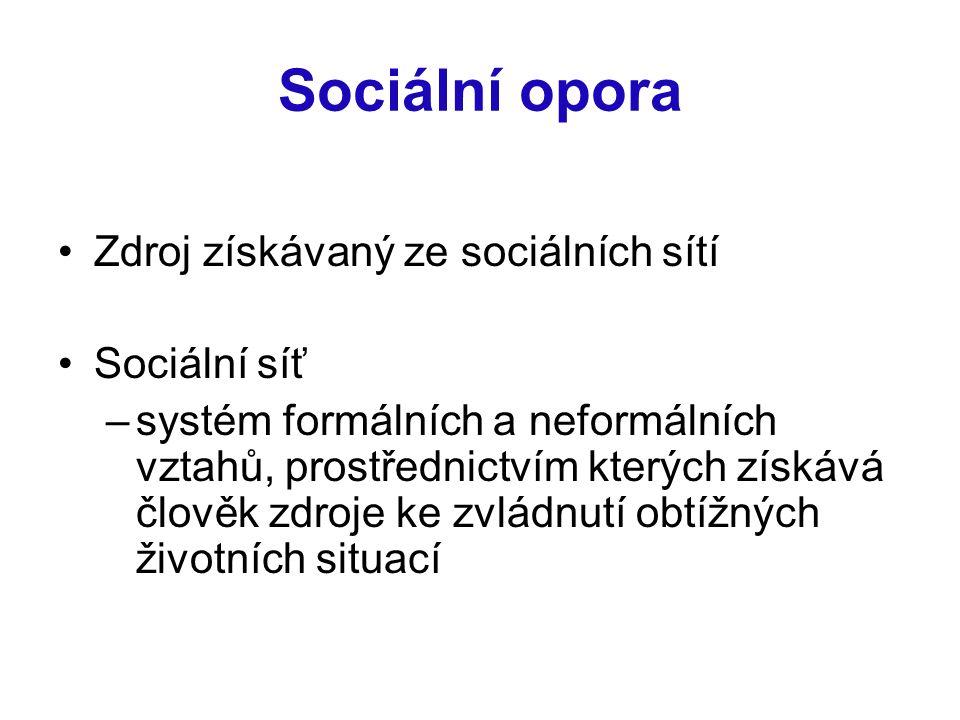 Sociální opora Zdroj získávaný ze sociálních sítí Sociální síť –systém formálních a neformálních vztahů, prostřednictvím kterých získává člověk zdroje ke zvládnutí obtížných životních situací