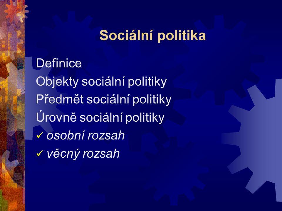 Sociální politika Definice Objekty sociální politiky Předmět sociální politiky Úrovně sociální politiky osobní rozsah věcný rozsah