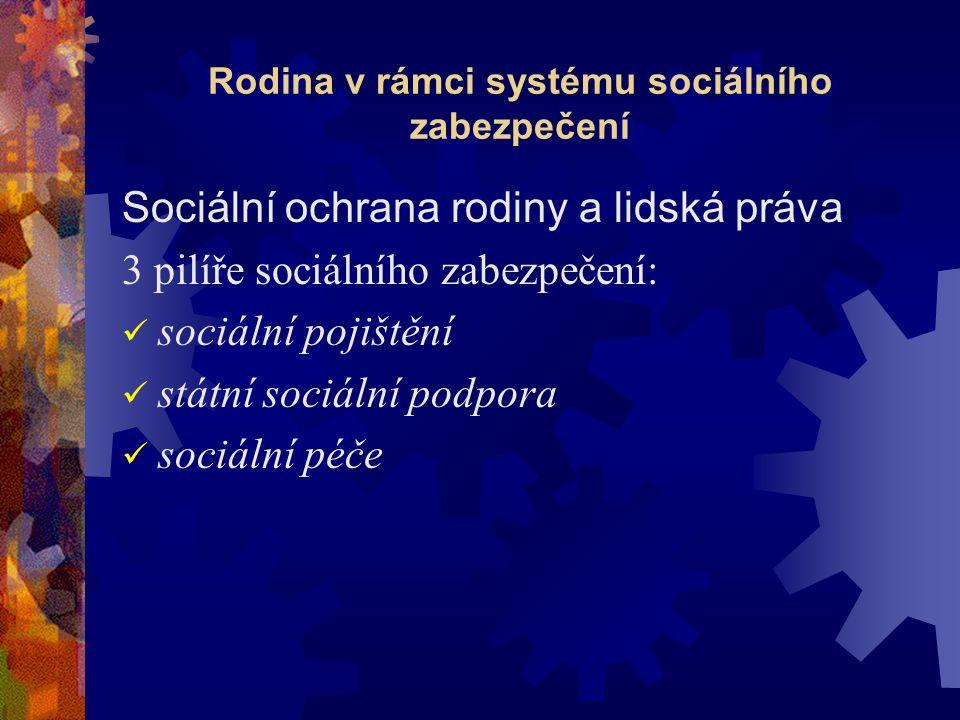 Rodina v rámci systému sociálního zabezpečení Sociální ochrana rodiny a lidská práva 3 pilíře sociálního zabezpečení: sociální pojištění státní sociální podpora sociální péče