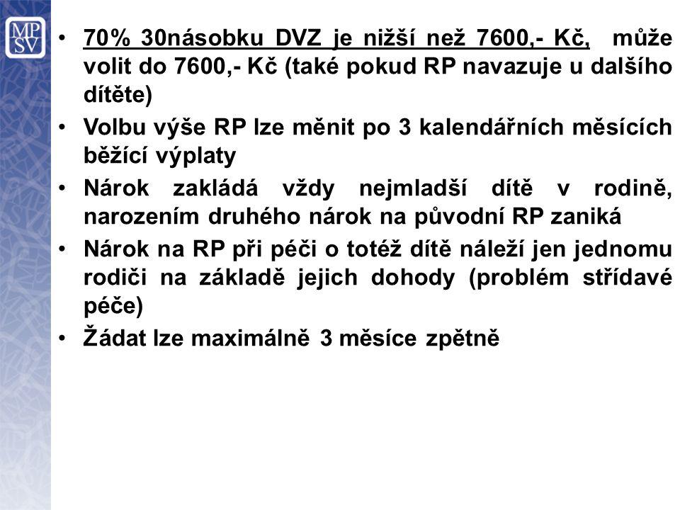 70% 30násobku DVZ je nižší než 7600,- Kč, může volit do 7600,- Kč (také pokud RP navazuje u dalšího dítěte) Volbu výše RP lze měnit po 3 kalendářních měsících běžící výplaty Nárok zakládá vždy nejmladší dítě v rodině, narozením druhého nárok na původní RP zaniká Nárok na RP při péči o totéž dítě náleží jen jednomu rodiči na základě jejich dohody (problém střídavé péče) Žádat lze maximálně 3 měsíce zpětně