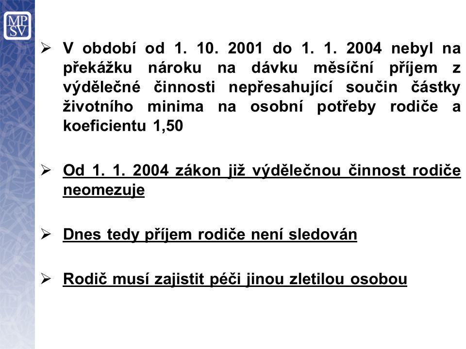  V období od 1. 10. 2001 do 1. 1. 2004 nebyl na překážku nároku na dávku měsíční příjem z výdělečné činnosti nepřesahující součin částky životního mi