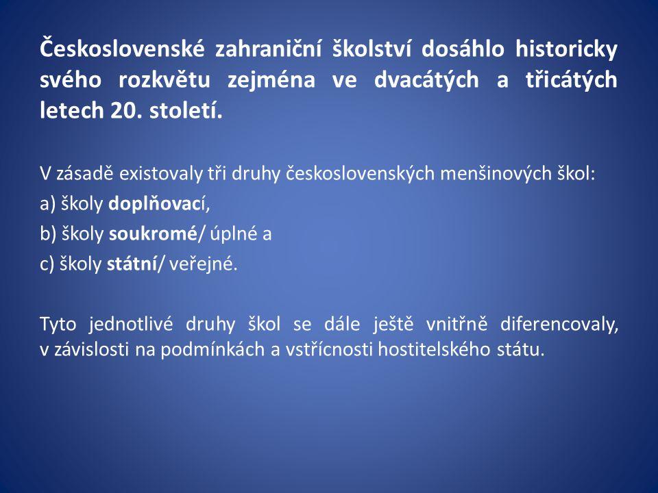 Československé zahraniční školství dosáhlo historicky svého rozkvětu zejména ve dvacátých a třicátých letech 20.