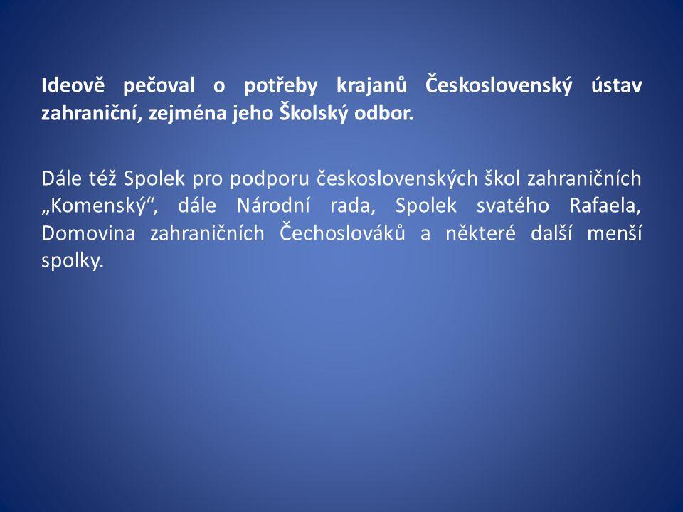 Podněty pro současnost lze čerpat: nejen ze vztahu tehdejšího státu k našim zahraničním krajanům, ale i ze snah o podporu vyučování českému jazyku a v českém jazyce.
