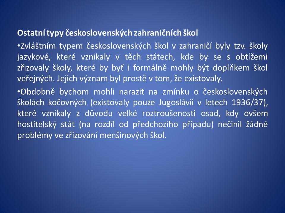 Ostatní typy československých zahraničních škol Zvláštním typem československých škol v zahraničí byly tzv.