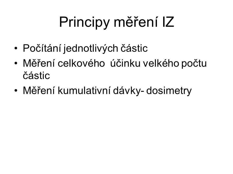 Principy měření IZ Počítání jednotlivých částic Měření celkového účinku velkého počtu částic Měření kumulativní dávky- dosimetry