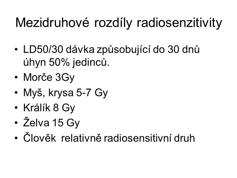 Mezidruhové rozdíly radiosenzitivity LD50/30 dávka způsobující do 30 dnů úhyn 50% jedinců.