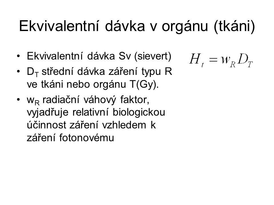 Ekvivalentní dávka v orgánu (tkáni) Ekvivalentní dávka Sv (sievert) D T střední dávka záření typu R ve tkáni nebo orgánu T(Gy).