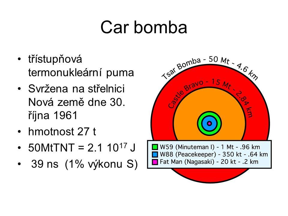 Car bomba třístupňová termonukleární puma Svržena na střelnici Nová země dne 30.