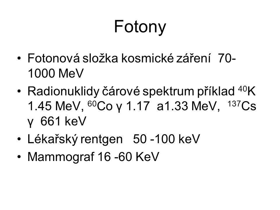 Fotony Fotonová složka kosmické záření 70- 1000 MeV Radionuklidy čárové spektrum příklad 40 K 1.45 MeV, 60 Co γ 1.17 a1.33 MeV, 137 Cs γ 661 keV Lékařský rentgen 50 -100 keV Mammograf 16 -60 KeV
