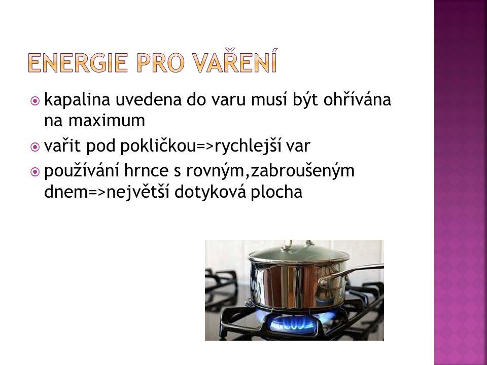  kapalina uvedena do varu musí být ohřívána na maximum  vařit pod pokličkou=>rychlejší var  používání hrnce s rovným,zabroušeným dnem=>největší dotyková plocha