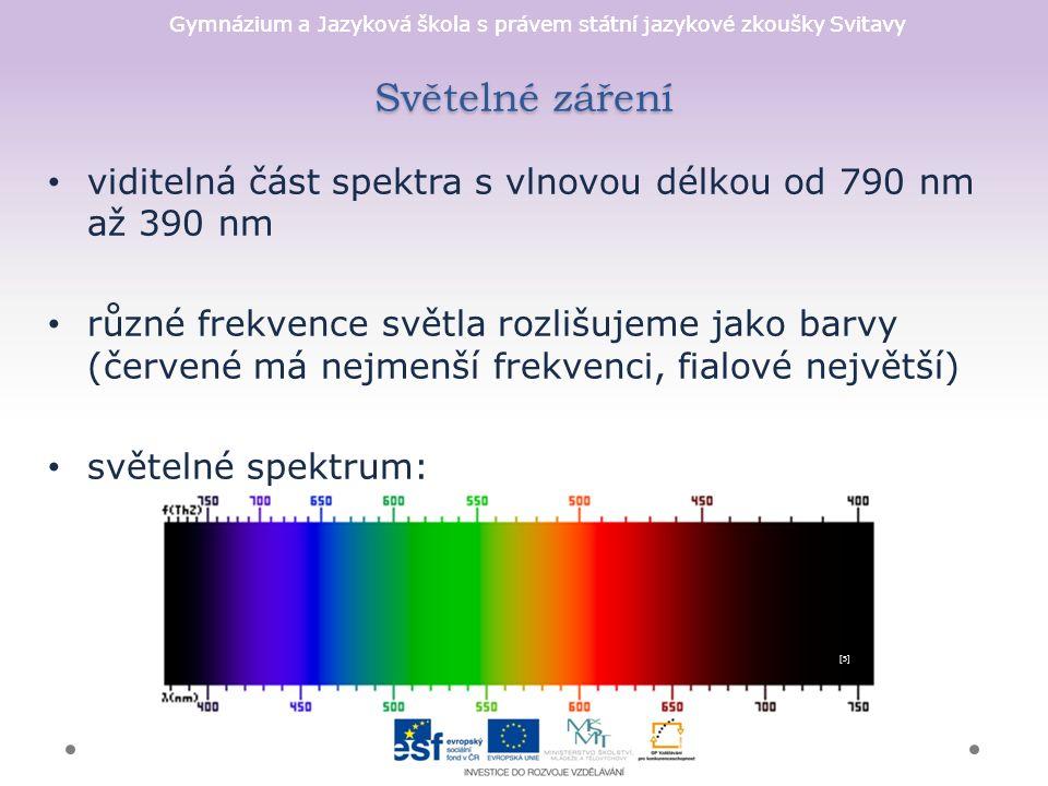 Gymnázium a Jazyková škola s právem státní jazykové zkoušky Svitavy Světelné záření viditelná část spektra s vlnovou délkou od 790 nm až 390 nm různé