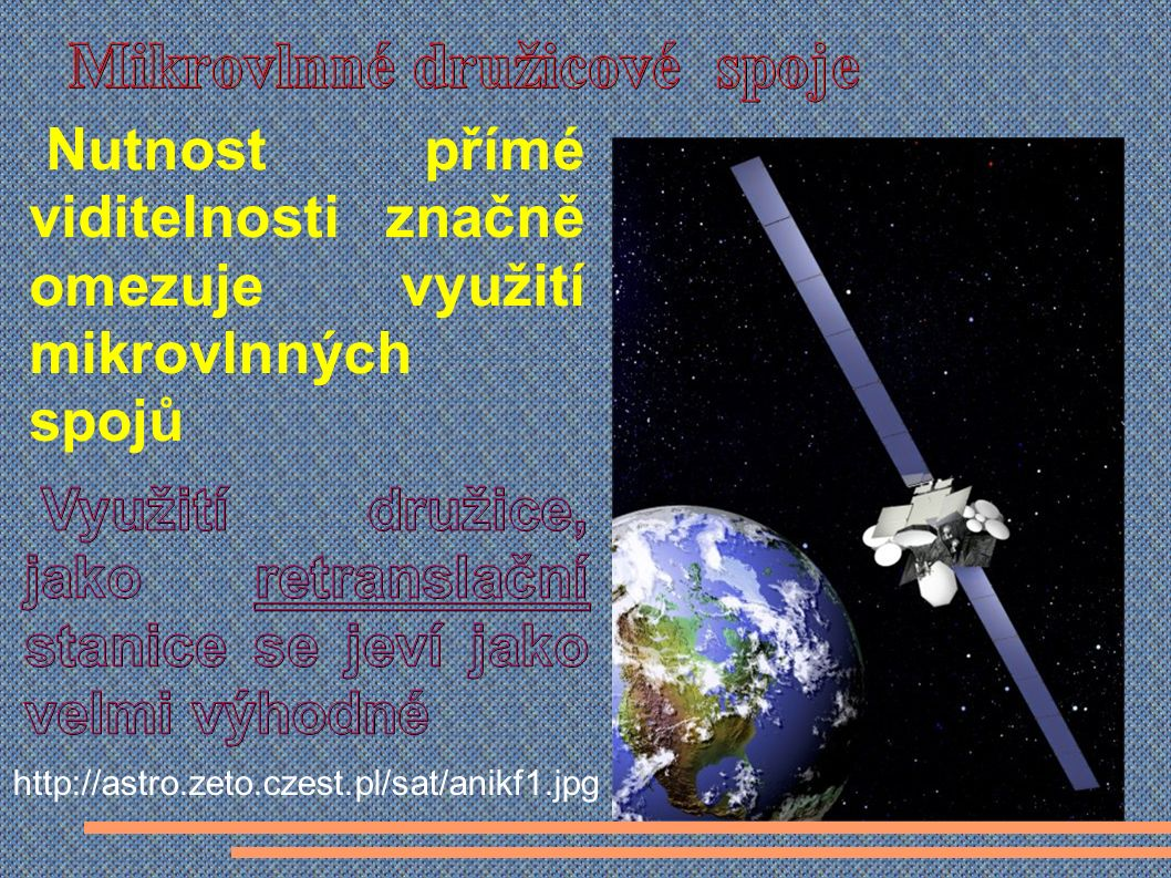 Nutnost přímé viditelnosti značně omezuje využití mikrovlnných spojů http://astro.zeto.czest.pl/sat/anikf1.jpg