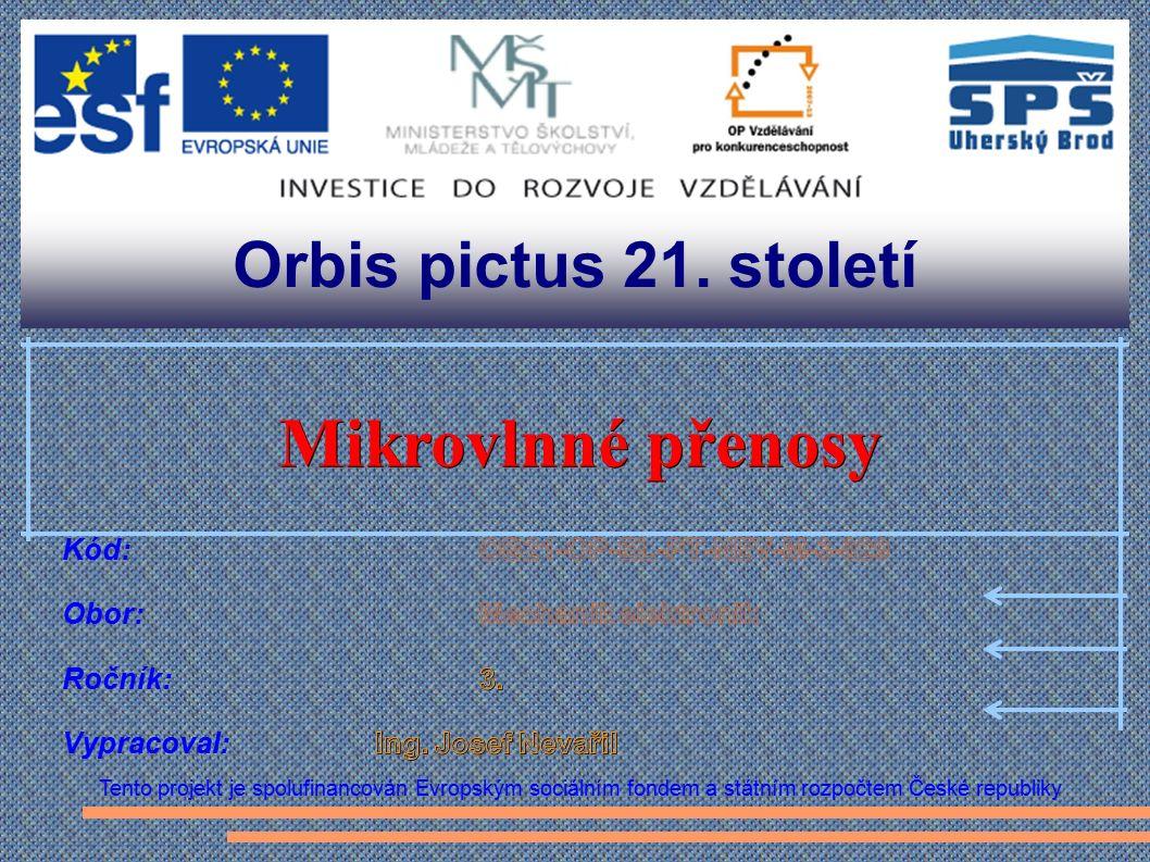 Orbis pictus 21. století Tento projekt je spolufinancován Evropským sociálním fondem a státním rozpočtem České republiky Mikrovlnné přenosy Mikrovlnné