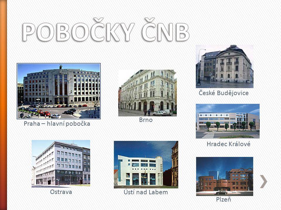 Praha – hlavní pobočka Brno České Budějovice Hradec Králové Ostrava Plzeň Ústí nad Labem