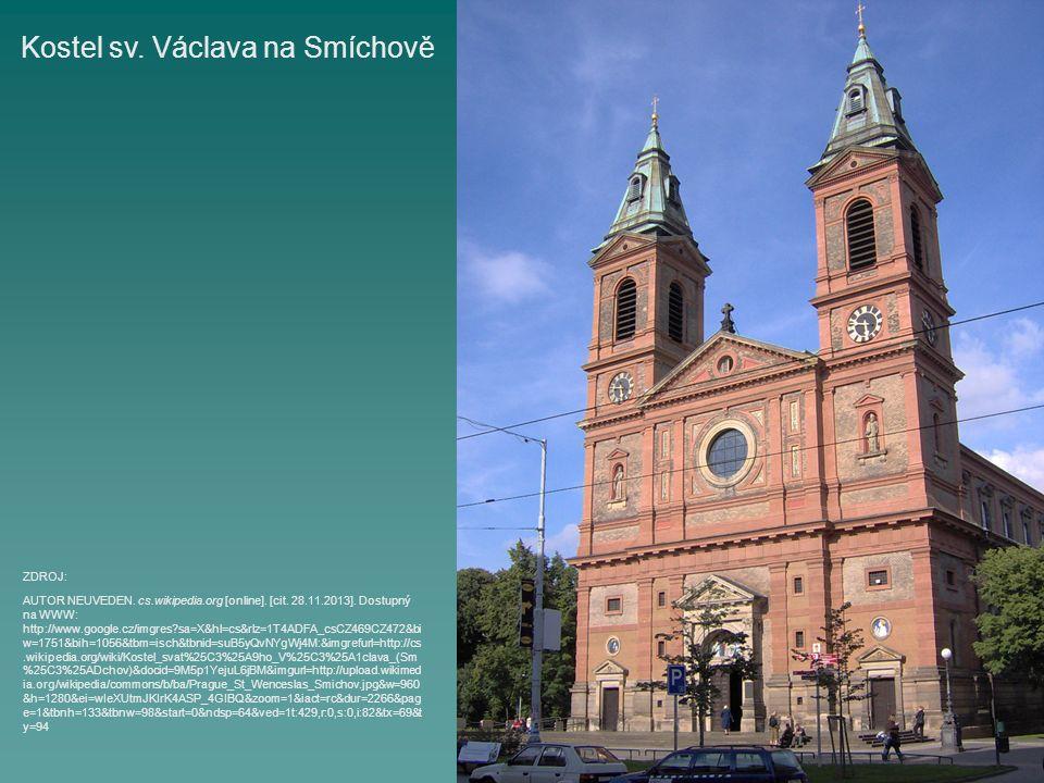 Kostel sv. Václava na Smíchově AUTOR NEUVEDEN. cs.wikipedia.org [online]. [cit. 28.11.2013]. Dostupný na WWW: http://www.google.cz/imgres?sa=X&hl=cs&r