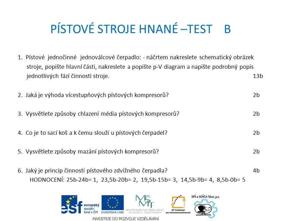 PÍSTOVÉ STROJE HNANÉ –TEST B 1.