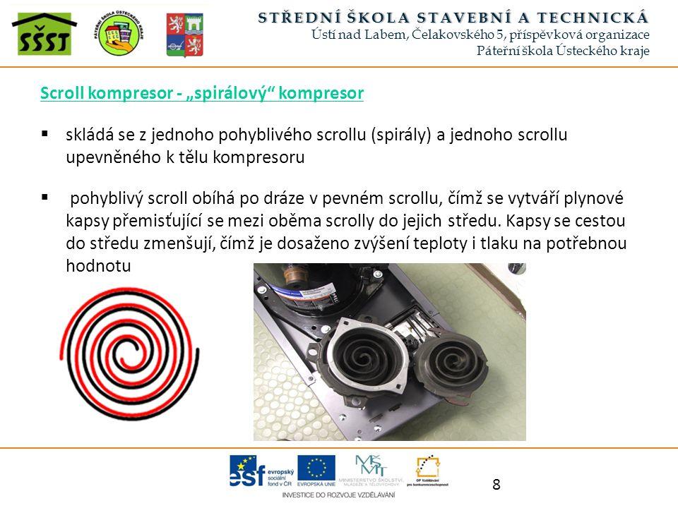 """Scroll kompresor - """"spirálový"""" kompresor  skládá se z jednoho pohyblivého scrollu (spirály) a jednoho scrollu upevněného k tělu kompresoru  pohybliv"""