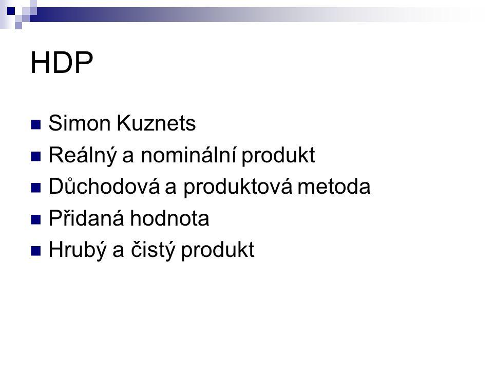 HDP Simon Kuznets Reálný a nominální produkt Důchodová a produktová metoda Přidaná hodnota Hrubý a čistý produkt