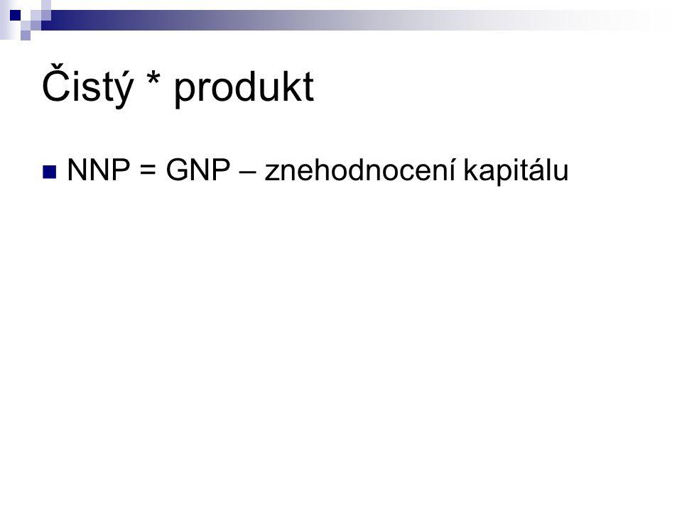 Čistý * produkt NNP = GNP – znehodnocení kapitálu