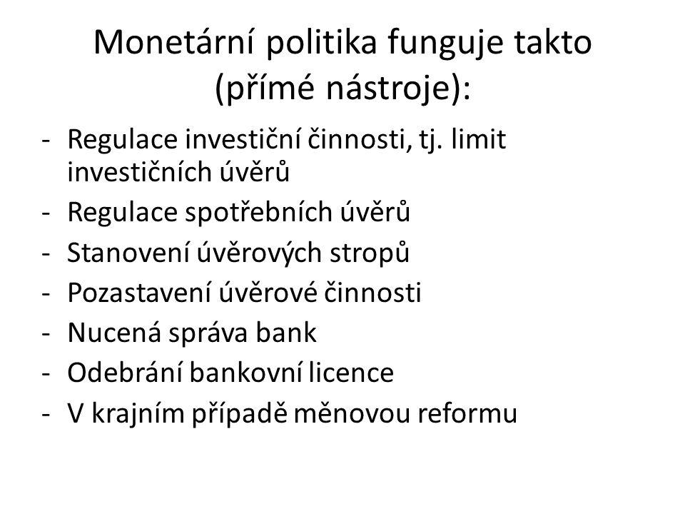 Monetární politika funguje takto (přímé nástroje): -Regulace investiční činnosti, tj.
