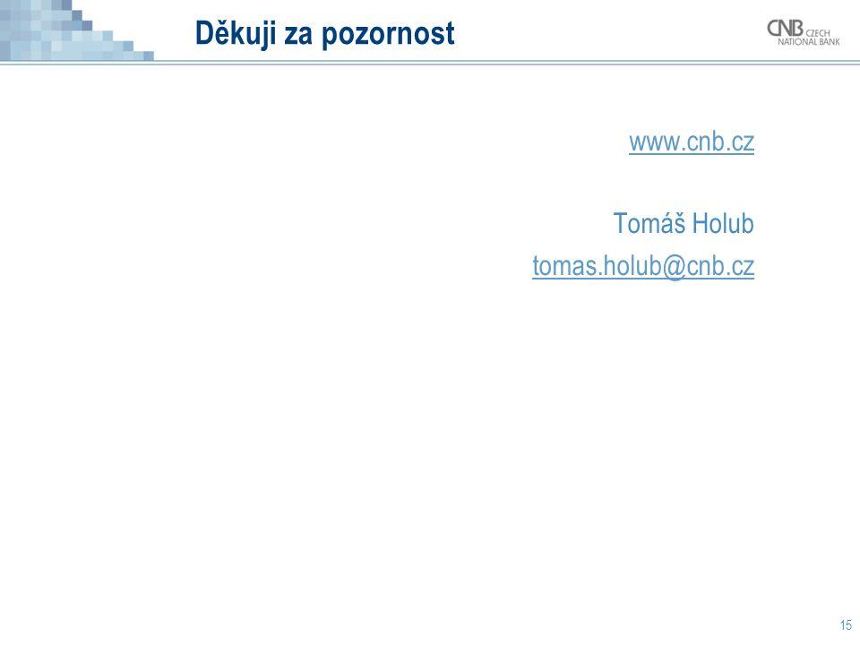 Děkuji za pozornost 15 www.cnb.cz Tomáš Holub tomas.holub@cnb.cz