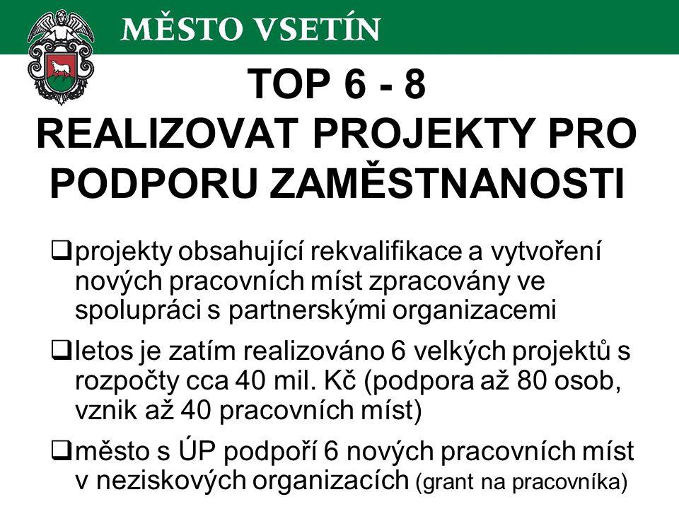 TOP 6 - 8 REALIZOVAT PROJEKTY PRO PODPORU ZAMĚSTNANOSTI  projekty obsahující rekvalifikace a vytvoření nových pracovních míst zpracovány ve spoluprác