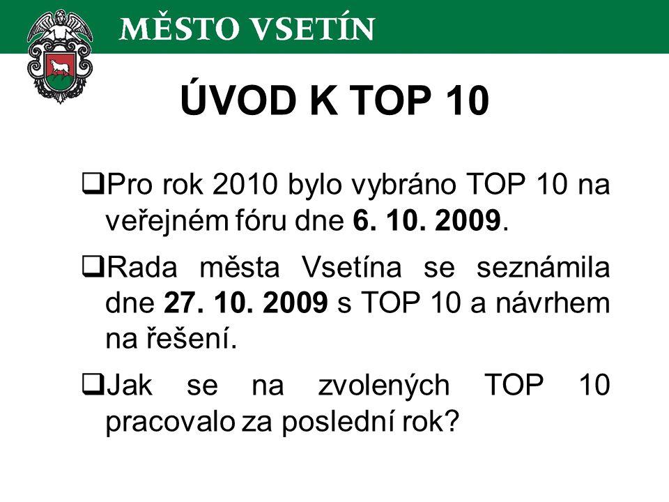 ÚVOD K TOP 10  Pro rok 2010 bylo vybráno TOP 10 na veřejném fóru dne 6. 10. 2009.  Rada města Vsetína se seznámila dne 27. 10. 2009 s TOP 10 a návrh