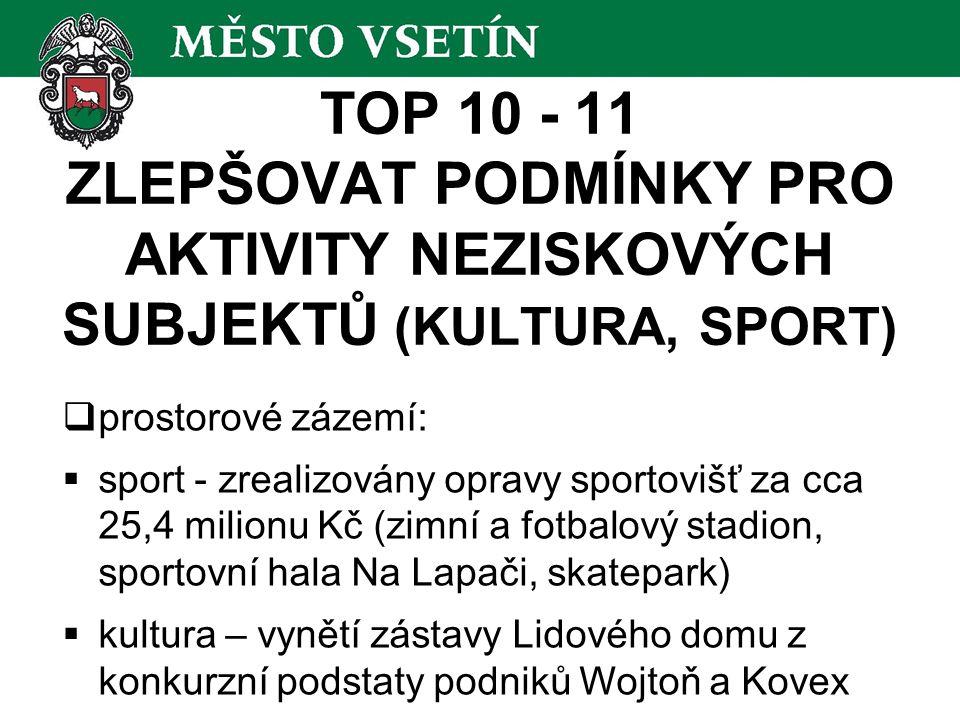 TOP 10 - 11 ZLEPŠOVAT PODMÍNKY PRO AKTIVITY NEZISKOVÝCH SUBJEKTŮ (KULTURA, SPORT)  prostorové zázemí:  sport - zrealizovány opravy sportovišť za cca