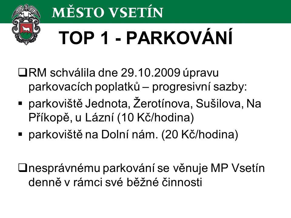 TOP 1 - PARKOVÁNÍ  RM schválila dne 29.10.2009 úpravu parkovacích poplatků – progresivní sazby:  parkoviště Jednota, Žerotínova, Sušilova, Na Příkop