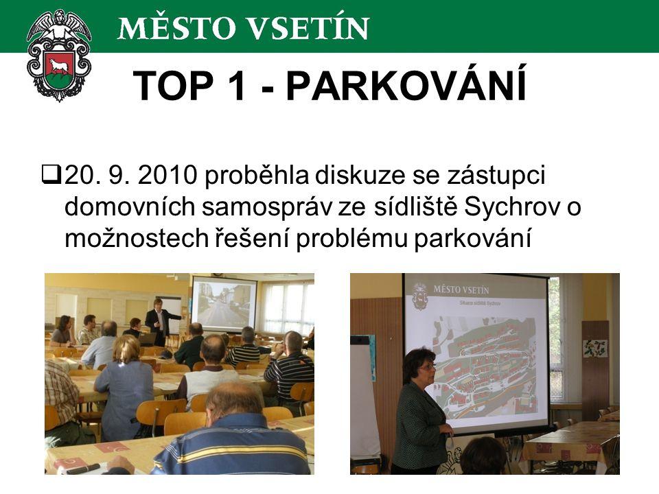  20. 9. 2010 proběhla diskuze se zástupci domovních samospráv ze sídliště Sychrov o možnostech řešení problému parkování TOP 1 - PARKOVÁNÍ
