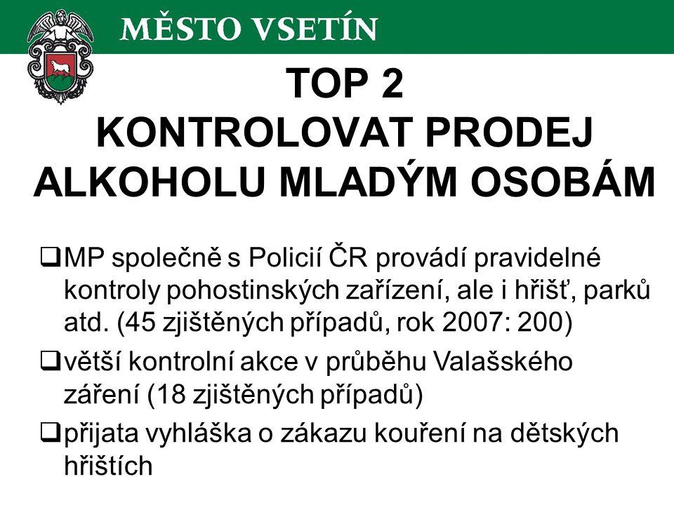 TOP 2 KONTROLOVAT PRODEJ ALKOHOLU MLADÝM OSOBÁM  MP společně s Policií ČR provádí pravidelné kontroly pohostinských zařízení, ale i hřišť, parků atd.