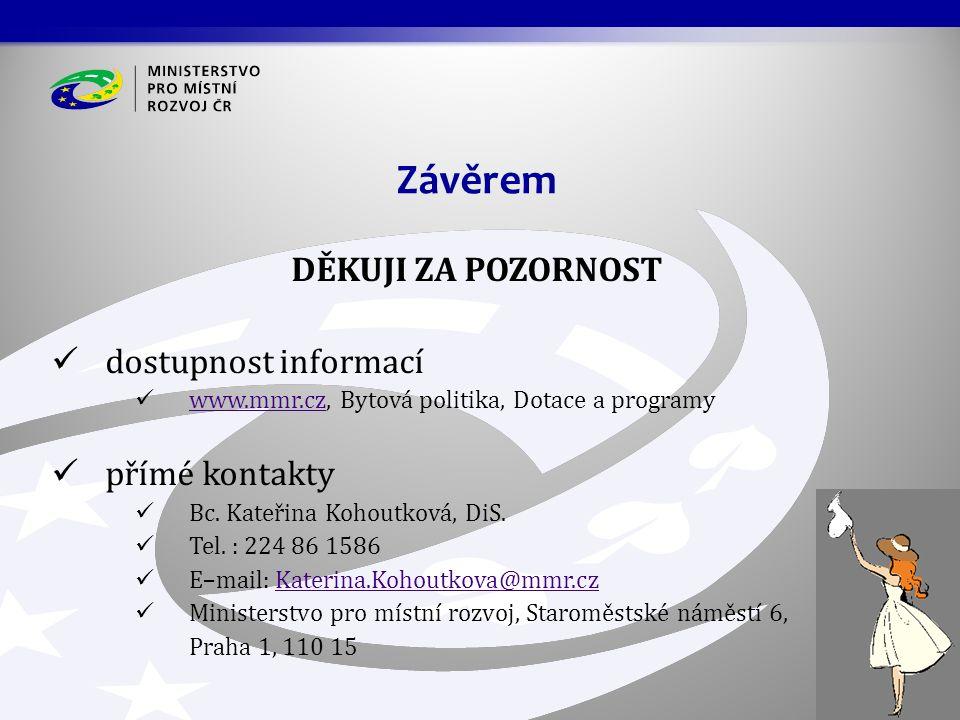 DĚKUJI ZA POZORNOST dostupnost informací www.mmr.cz, Bytová politika, Dotace a programy www.mmr.cz přímé kontakty Bc. Kateřina Kohoutková, DiS. Tel. :