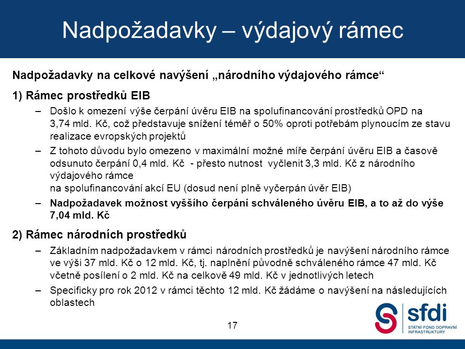 """Nadpožadavky – výdajový rámec Nadpožadavky na celkové navýšení """"národního výdajového rámce 1) Rámec prostředků EIB –Došlo k omezení výše čerpání úvěru EIB na spolufinancování prostředků OPD na 3,74 mld."""