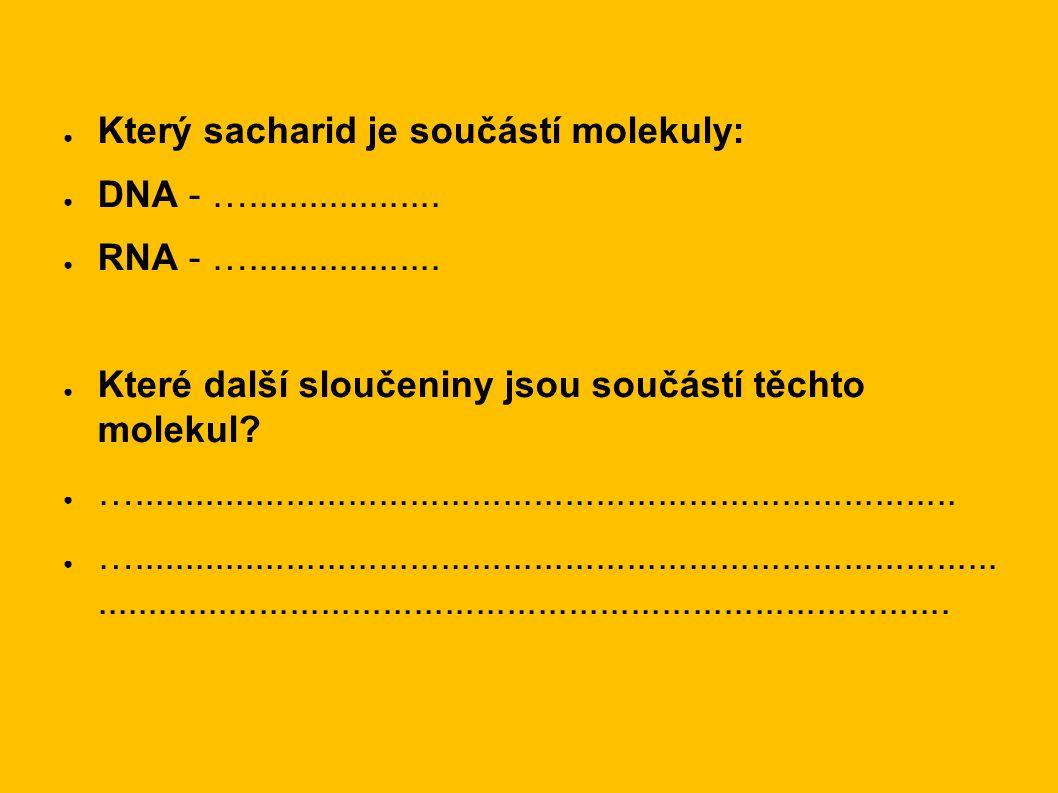 ● Který sacharid je součástí molekuly: ● DNA - …...................