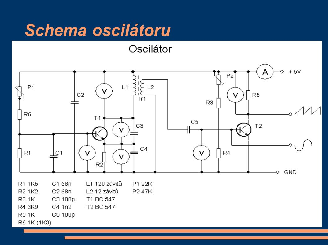 Dělení oscilátorů - NF – slyšitelné pásmo ( různé sirény, signalizace ) - VF – rozhlasové pásmo ( televizní přijímače, vysílače, měřící a signalizační technika ) - Oscilátor je zdroj netlumených kmitů - Ztráty ( zapříčiněné např.: odporem v cívce, rozptyl mag.