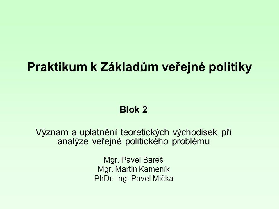 Praktikum k Základům veřejné politiky Blok 2 Význam a uplatnění teoretických východisek při analýze veřejně politického problému Mgr.