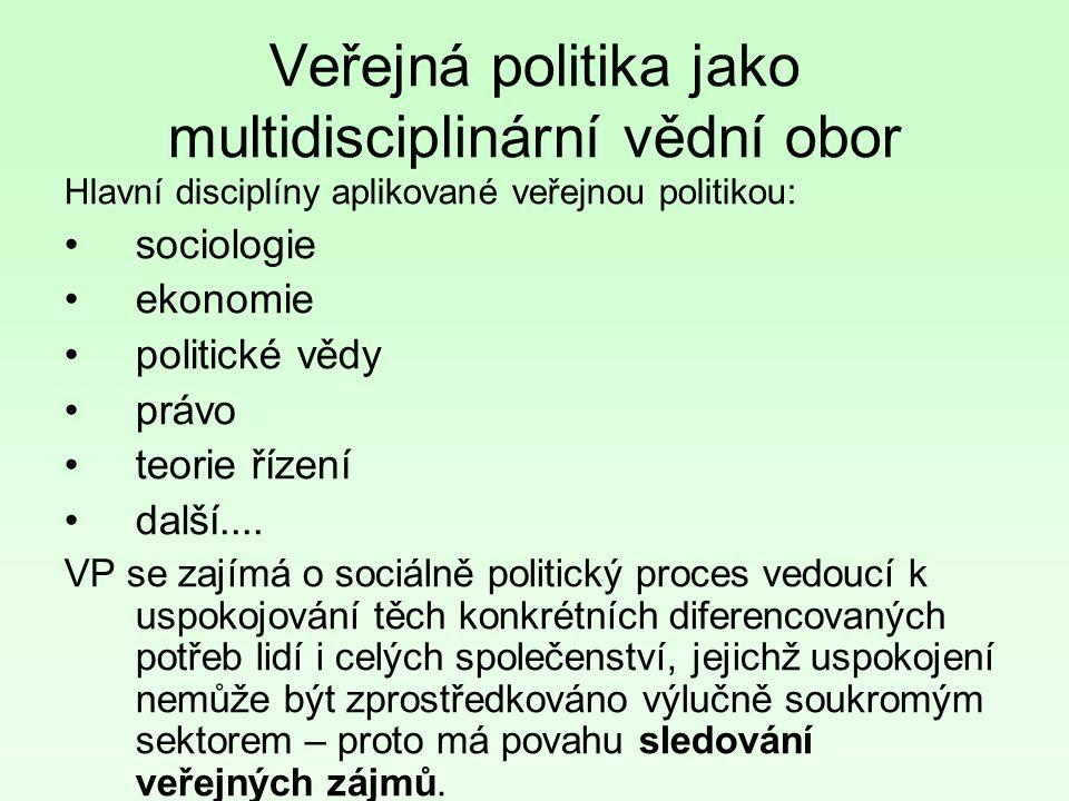 Veřejná politika jako multidisciplinární vědní obor Hlavní disciplíny aplikované veřejnou politikou: sociologie ekonomie politické vědy právo teorie řízení další....
