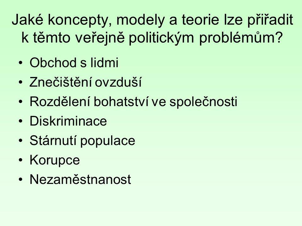 Jaké koncepty, modely a teorie lze přiřadit k těmto veřejně politickým problémům.