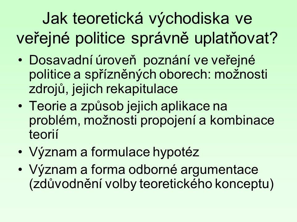 Jak teoretická východiska ve veřejné politice správně uplatňovat.