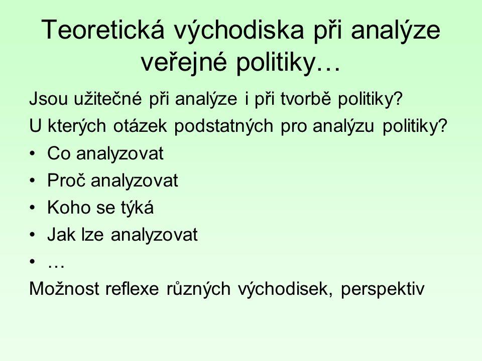 Teoretická východiska při analýze veřejné politiky… Jsou užitečné při analýze i při tvorbě politiky.