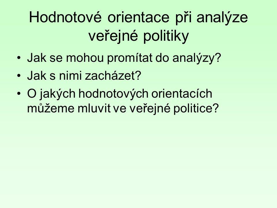 Hodnotové orientace při analýze veřejné politiky Jak se mohou promítat do analýzy.