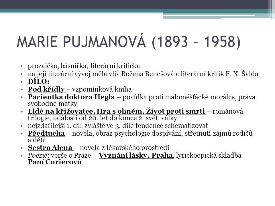 MARIE PUJMANOVÁ (1893 – 1958) prozaička, básnířka, literární kritička na její literární vývoj měla vliv Božena Benešová a literární kritik F.