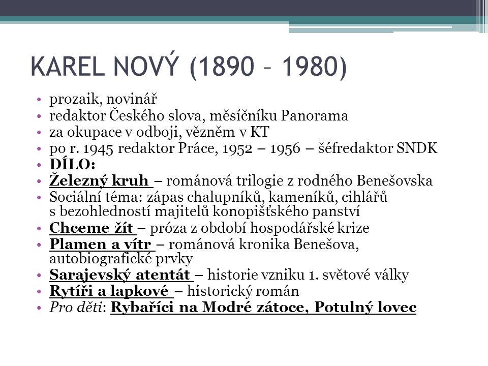 KAREL NOVÝ (1890 – 1980) prozaik, novinář redaktor Českého slova, měsíčníku Panorama za okupace v odboji, vězněm v KT po r.