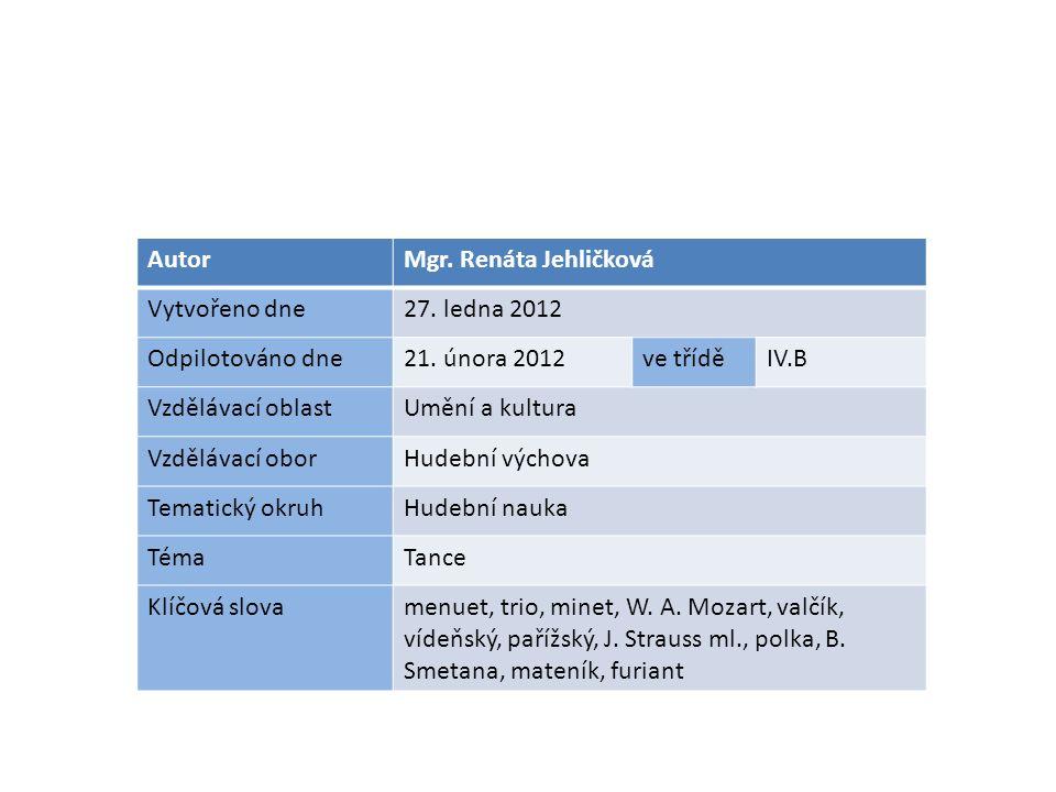 AutorMgr. Renáta Jehličková Vytvořeno dne27. ledna 2012 Odpilotováno dne21.