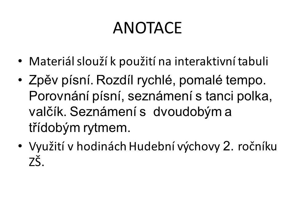 ANOTACE Materiál slouží k použití na interaktivní tabuli Zpěv písní.