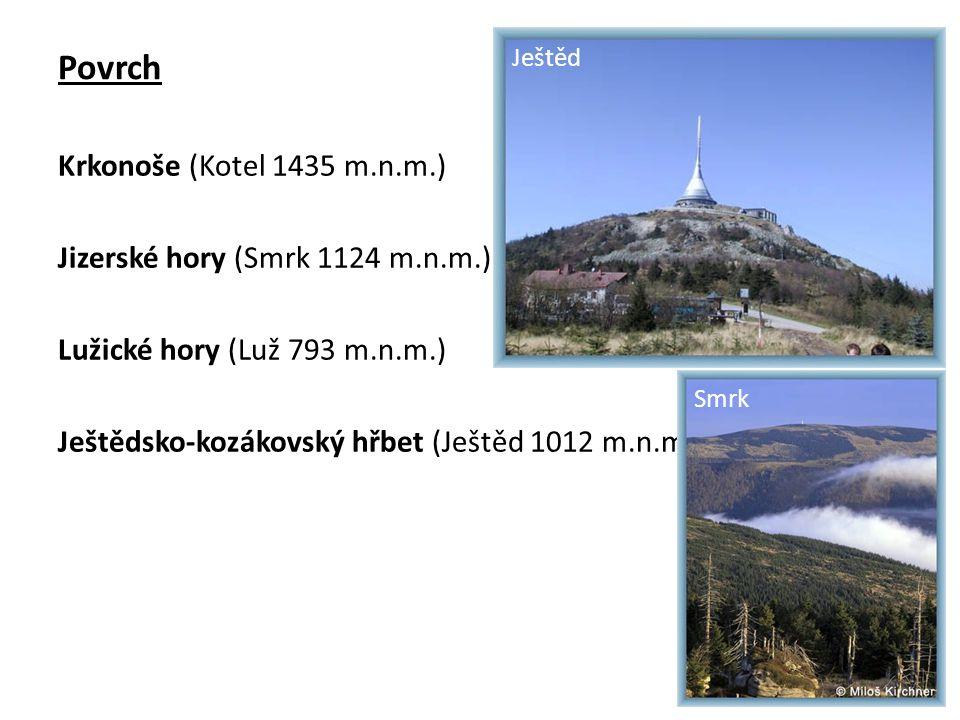 Povrch Krkonoše (Kotel 1435 m.n.m.) Jizerské hory (Smrk 1124 m.n.m.) Lužické hory (Luž 793 m.n.m.) Ještědsko-kozákovský hřbet (Ještěd 1012 m.n.m.) Ještěd Smrk