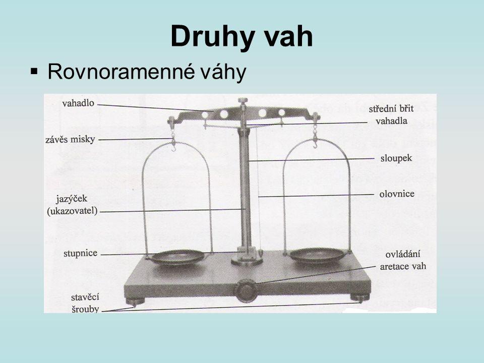 Jak postupujeme při vážení vodorovná podložka (vodorovná poloha vah) odaretování na jednu misku těleso a na druhou závaží malá závaží přenášíme pinzetou před změnou závaží váhy aretujeme součet hmotností závaží na misce se rovná hmotnosti váženého tělesa