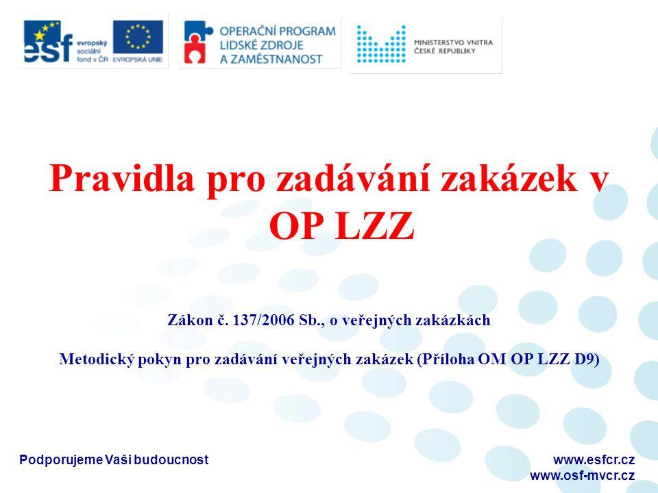 Pravidla pro zadávání zakázek v OP LZZ Zákon č.