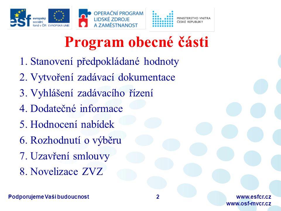 Program obecné části 1.Stanovení předpokládané hodnoty 2.